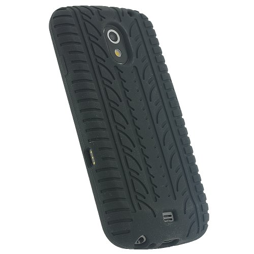 iGadgitz U1448 Silikon Skin Tasche Hülle mit Reifen Profil Kompatibel mit Samsung Galaxy Nexus i9250 - Schwarz