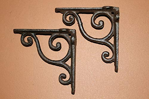 Southern Metal Pack of 7 Provincial Curio Shelf Brackets, Vintage Style Cast Iron, 4 inch, B-90