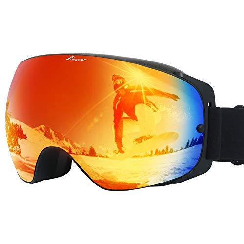 Elegear Skibrille Damen Herren Ski Goggles Snowboardbrille Anti-Fog 100% UV400 Schutz Verspiegelt Schneebrille Helmkompatible Skibrille für Snowboard Skifahren - Rot