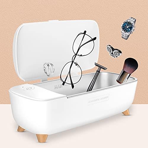 Esolom - Dispositivo di pulizia a ultrasuoni a ultrasuoni in acciaio inox bianco, funzione timing, protezione dalle alte temperature per occhiali, orologi, gioielli, anelli, collane, rasoi