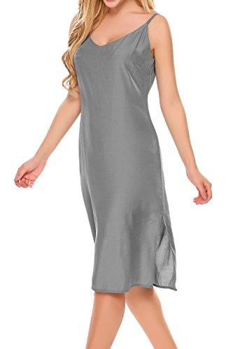 EKOUAER Damen Nachthemd Sommer V Ausschnitt Ärmellos Nachtwäsche Einfarbig Sleepwear Unterkleid Nachtkleider Tops mit Träger