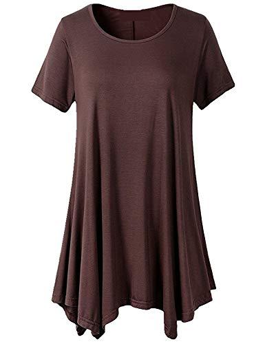 Camiseta De Verano De Talla Grande para Mujer De Manga Corta Y Cuello Redondo Suelto Color Liso