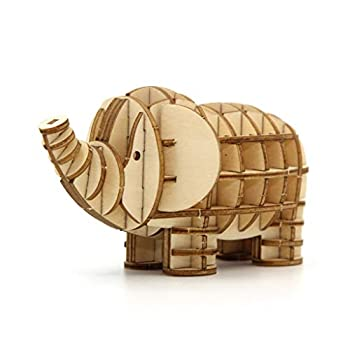 Team Green JIGZLE 2mm Plywood Wooden 3D Assembly Puzzle for Teens and Adults Mechanical Models Craft Kits - Safari Collection - Elephant