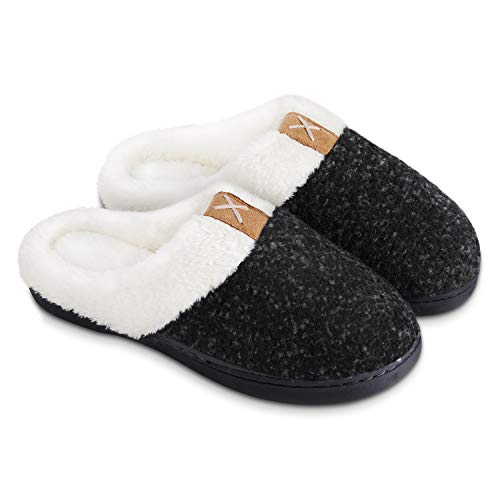 BERGMAN KELLY Women's Slippers, Memory Foam Indoor/Outdoor House Shoes w/Ultra Soft Wool-Like Plush Fleece Lining, Multiple Colours & Sizes, Prairie Collection Midnight Black