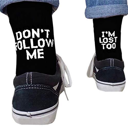 KERDEJAR Calcetines, Unisex Divertido Palabra Letra Impresa algodón Calcetines Largos Mensaje Hip Hop monopatín Negro