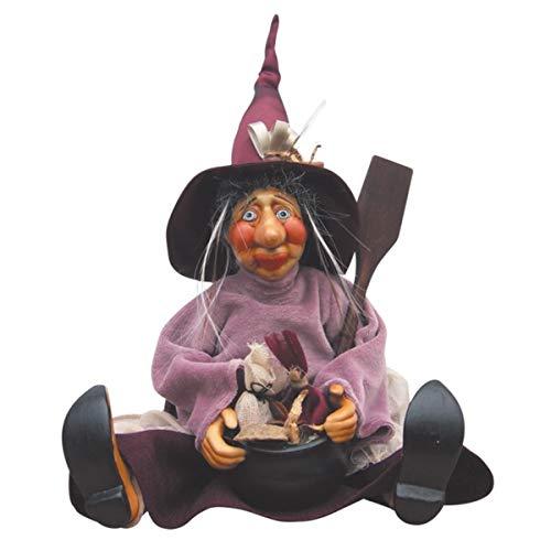 Hexen von Pendle-Ethel Hexe sitzend (Burgund) 35cm