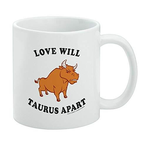 Divertida taza de café, Love Will Taurus Apart Zodiac Bull Tear Us Funny Humor Taza de té, taza de café, taza de café de 325 ml, regalo para mujeres y hombres