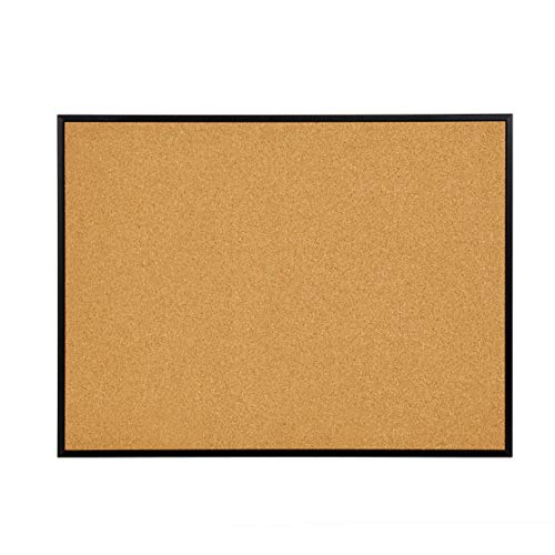 """INNOVART Cork Bulletin Board 48"""" X 36"""" with 10 Push Pins, Corkboard with Black Aluminum Frame, Cork Notice Board for Home, Office, School"""