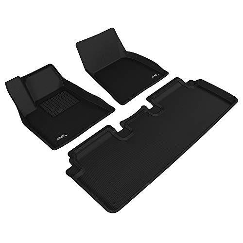 3D MAXpider All-Weather Floor Mats for Tesla Model S 2012 2013 2014 2015 2016 2017 Custom Fit Car Floor Liners, Kagu Series (1st & 2nd Row, Black)