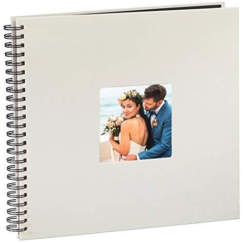 Hama Jumbo Hochzeitsalbum/Gästebuch (36 x 32 cm, 50 schwarze Seiten, 25 Blatt, mit Ausschnitt für Hochzeitsbild, Hochzeitsbuch) Album kreide