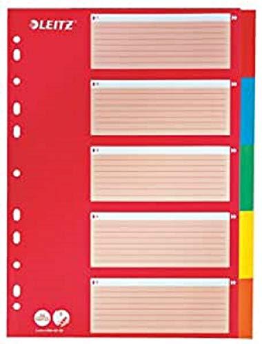 Leitz Register für A4, Deckblatt und 5 Trennblätter mit Taben, Rot/Mehrfarbig, Recyclingkarton, 43866000
