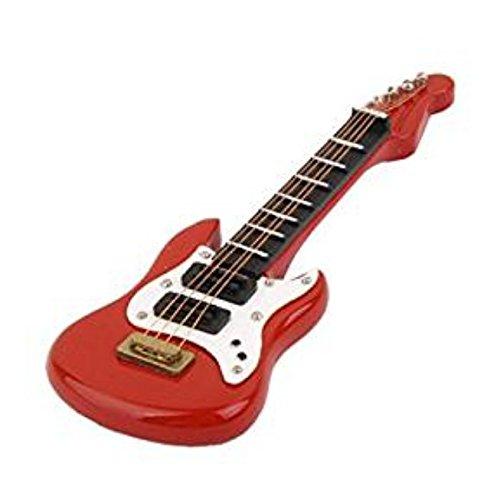 1/12 Dollhouse miniatura Instrumento Musical Guitarra Eléctrica de Madera (Rojo)