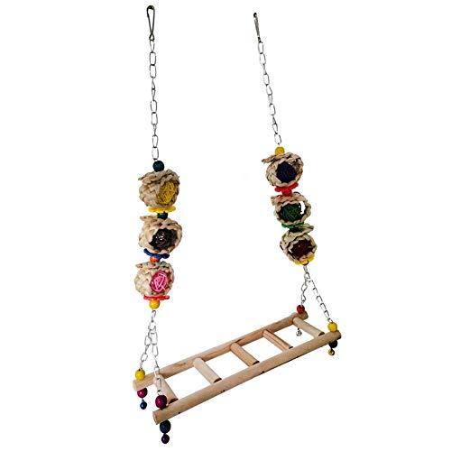 Jinclonder middelgrote en grote papegaai-schommel, hangbrug, ladder, kippenschommel, vogelbijtspeelgoed, papegaai-speelgoed voor je huisdiervriend kan gemakkelijk spelen en in de kooi kauwen.