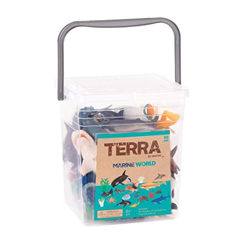 Terra by Battat – Marine World – Assorted Fish & Sea Creature Miniature Animal Toys for Kids 3+ (60 Pc)