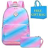 Niñas Mochilas Coloridas Infantiles Bolsas Escolar Mochila Chica Rainbow Backpack 2 en 1 Sets Escolares con Estuches,11 * 5.5 * 17 Pulgadas