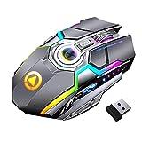 Mouse wireless, ottica di gioco silenziosa, mouse ricaricabile USB, grigio con retroilluminazione