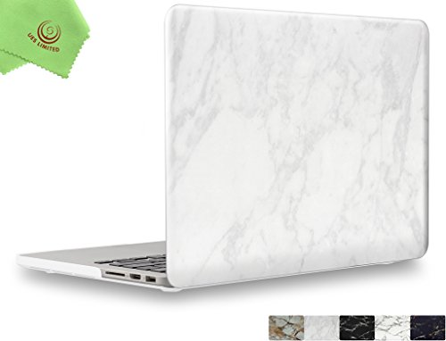 UESWILL Marble Pattern Smooth Hard Shell Case Cover for MacBook Pro 13 inch with Retina Display (A1502/A1425), No USB-C, No CD-ROM, (White)