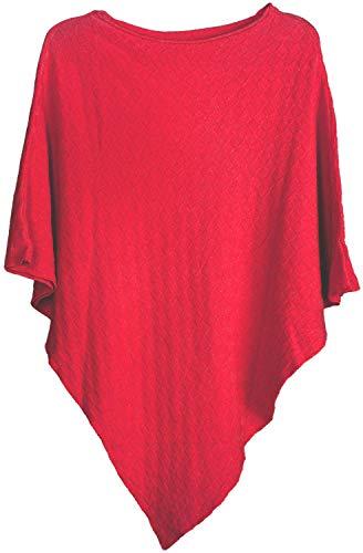 styleBREAKER Damen Feinstrick Poncho mit Karo Schachbrett Struktur, Rundhals 08010053, Farbe:Rot