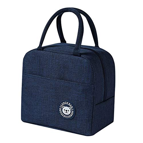 Portable Lunch Bags For Women Student Lunch Box Bag Thermo Bag Office School Picnic Cooler Bag Launcher,Navy