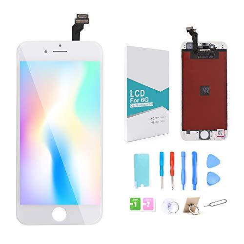 GLOBALGOLDEN Reemplazo de Pantalla para iPhone 6 Blanco, Montaje de Marco digitalizador de Pantalla táctil LCD de 4.7 Pulgadas con Kit de reparación