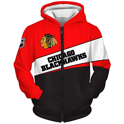 Outwear UnisexHoodie Sweater - NHL Chicago Blackhawks-Jacken Beiläufiges Pullover Jersey Zip Sweatshirtjacke Langarm Mantel Zip Hoodie-XXL