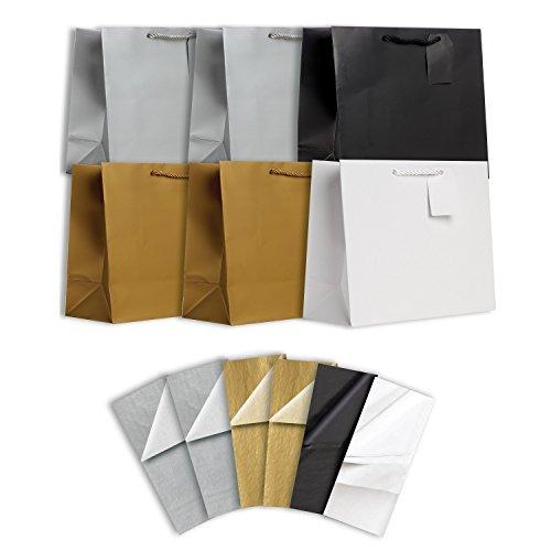 Jillson Roberts 6 sacos de presente grandes de cor lisa para todas as ocasiões, com lenços, disponíveis em 4 diferentes variedades, itens essenciais elegantes