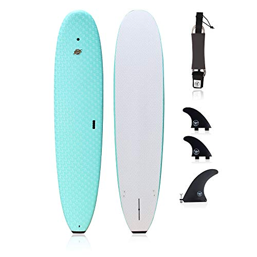 """Premium Surfboard for Beginners – Wax-Free Soft-Top Foam Surfboard – 8'8"""" Ruccus Aqua with 3 Thruster Fins, Fin Key, and 7' Leash – Custom Beginner Shape for Easier, Better Surfing for Adults & Kids"""
