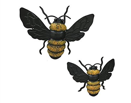 Dipamkar Set of 2 Handpainted Bumble Bee Metal Wall Art Wall Sculpture Home Kitchen Garden Ornaments