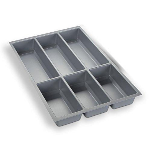 Orga-Box Besteckeinsatz Silbergrau für 40er Schublade z.B. Nobilia ab 2013 (473,5 x 294 mm) Besteckkasten III