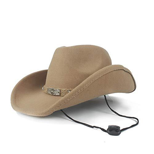 Chlyuan Panama-Fedora-Cap mit breiter Krempe Frauen Wolle Hollow Western Cowboy Hut Für Gentleman Krempe Sombrero Jazz Cap Papa Hut (Farbe : Beige, Größe : 56-59cm)