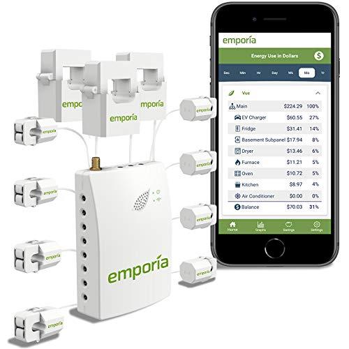 EMPORIA ENERGY Monitor de energía trifásico Emporia Casa inteligente, monitor/medidor de electricidad en tiempo real, medición solar/neta (monitor con 8 sensores de 50 A)