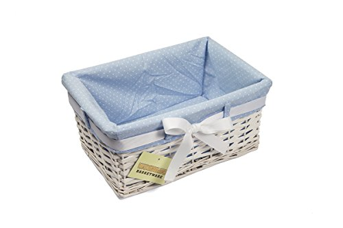 Woodluv Rectangular White Willow Wicker Hamper Storage Basket-with Blue Fabric & Ribbon (Gift Hamper Basket) -Small