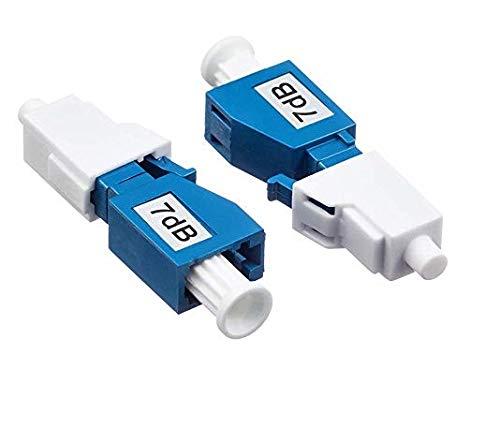 Elfcam Atenuador de Fibra Óptica Monomodo LC/UPC, Hembra a Macho 7dB, 2 Unidades