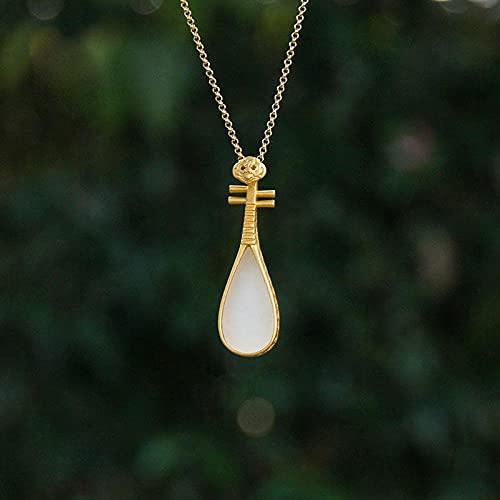 JIUXIAO Collar de Pipa en Forma de Gota de Jade Blanco Hetian Natural Colgante Creatividad clásica Exquisita y Elegante joyería de Plata para Mujer