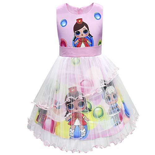 Muñecas de LOL Vestido de niña Cuello Redondo sin Mangas Ropa de Dibujos Animados 3-8Years (Rosa, 140 (7-8 años))