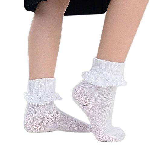 adam & eesa 3 Paar Mädchen hübsche Baumwolle sattes Weiß bestickte Spitze Rüschen Socken UK Größe (4-6)