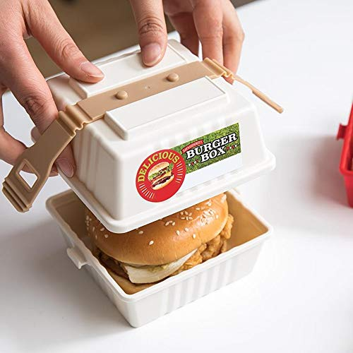 Schonee Reusable Stackable Hamburger Sandwich Box Microwave Safe Clamshell Food Containers Non-disposable Take Out Lunch Box Lunch Cube To-Go Container Good for Picnic School Office White