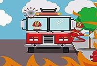背景布 バナー写真誕生日パーティーのテーマの背景パーティープリンス消防士スタジオアクセサリー-10x6.5ft