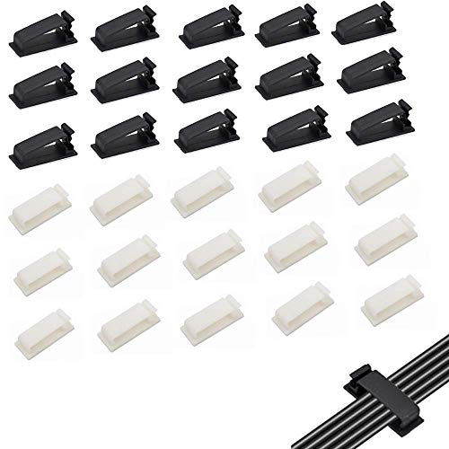 Selbstklebend Kabelclips, 30 Stück Kabelorganisatoren Kabelklemmen Kabelhalter für TV-PC Laptop Ethernet-Kabel Desktop Home Office