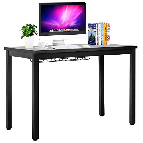 Tangkula Writing Desk, Computer Desk with Cable Organizer, Wood and Metal Study Workstation Modern Writing Table for Home and Office (Black)
