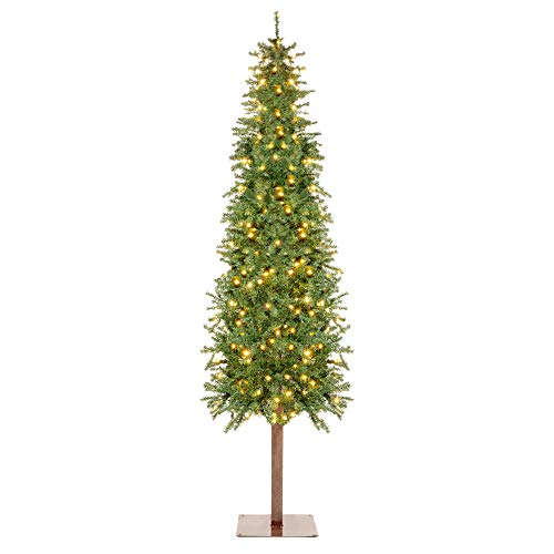 Best Choice Products 7.5ft Pre-Lit Hinged Artificial Alpine Slim Pencil Christmas Tree Holiday Decoration w/ 350 LED Lights, 975 Tips, Metal Stand