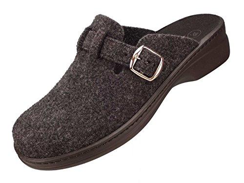 Algemare Damen Clog Hausschuh Pantolette aus Filz mit waschbarem Sani-pur Wechselfußbett Pantolette 5932_2323 Sandalette, Größe:41 EU