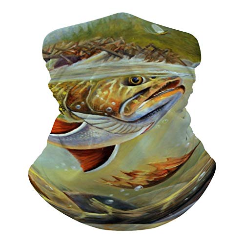 Brook Trout Fly Fishing Sun UV Protection Neck Gaiter Mask Magic Face Cover Scarf Dust Wind Bandana Balaclava Headwear for Fishing Hiking Cycling