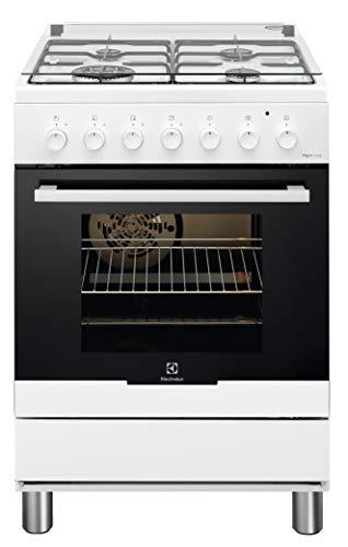 Electrolux RKK61380OW - Cocina eléctrica con 4 fuegos de gas, horno eléctrico, multifunción, ventilado, clase A, dimensiones 60 x 60 cm, color blanco