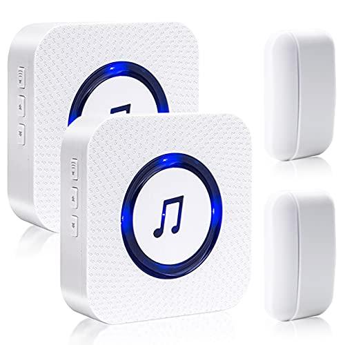 Door Chime Wireless Door Sensor Sanjie Door Alarm with Chime Adjustable Volume for Business Home Door Open Alert with 1000ft Range 55 Chimes Mute Mode 2 Plug-in Receiver +2 Magnetic Sensors (White)