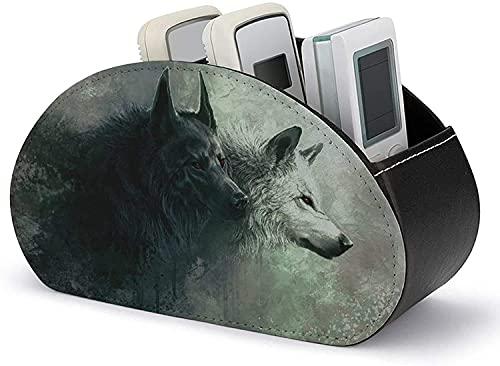 YLB Fernbedienungshalter Organizer PU Leder Cool Wolf Art Media Accessoire Storage & Organizer mit 5 geräumigen Fächern für DVD/Blu-ray/Media Player/Heizungssteuerungen