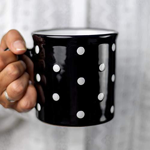City to Cottage® - Keramik XXL Becher 500 ml | Kaffeebecher | Schwarz und Weiß | Polka Dots | Handgemacht | Keramik Geschirr | Große Tasse