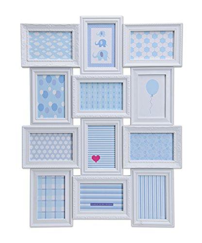 Bilderrahmen Fotocollage im XXL Hochformat für 12 Fotos - Bilderrahmen Collagen Weiß mit Glasscheibe aus Kunststoff - 69cm x 52cm in weiß