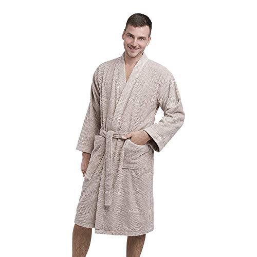DREAMON Peignoir pour Hommes - en Éponge et 100 % Coton - Unisexe, Parfait pour Hommes et Femmes - Couleur beige