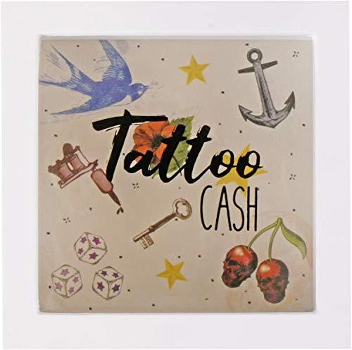 Topshop24you wunderschöne Spardose Tattoo Cash weiß aus MDF zum Hängen oder Stellen Größe ca. 15 cm